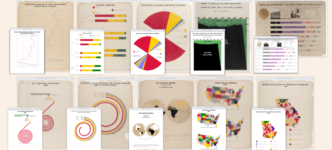 Some of W. E. B. DuBois's original charts in the background and their #DuBoisChallenge recreations.