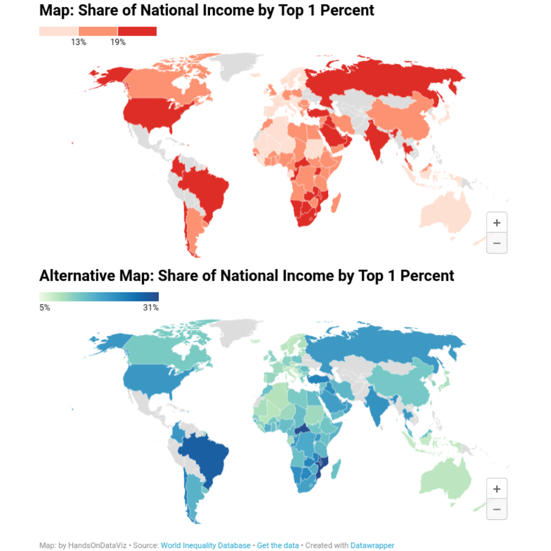 Contrasting maps used in the book to illustrate impact of design choices